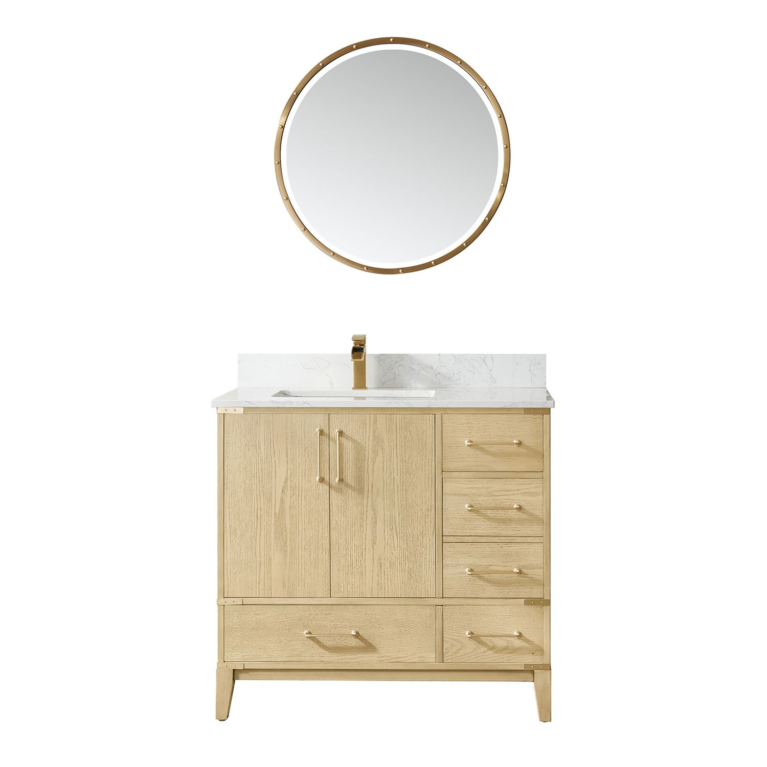 """36"""" Vanity in Washed Ash with White Composite Grain Stone Countertop Without Mirror"""