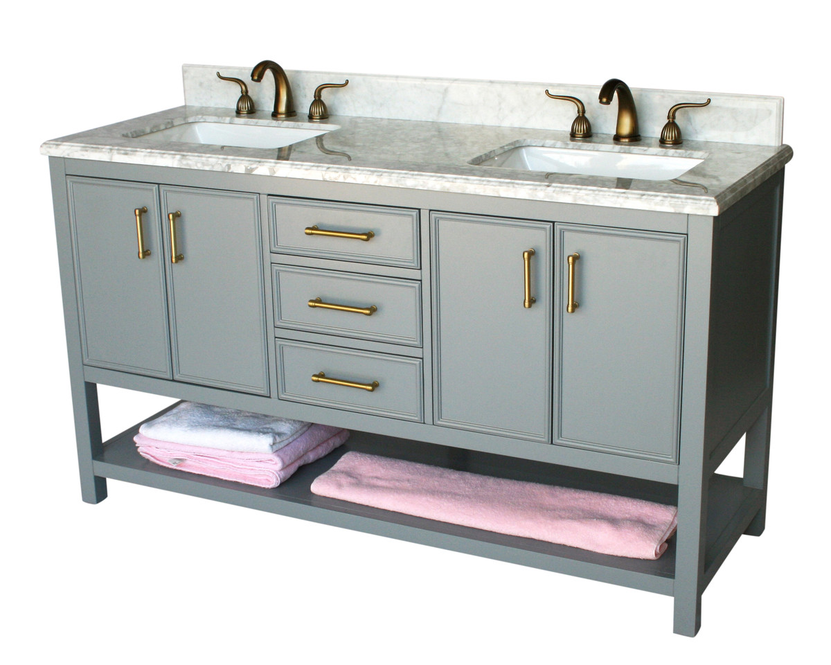 "61"" Adelina Contemporary Style Double Sink Bathroom Vanity in Gray Finish with White Italian Carrara Marble Countertop and Rectangular White Porcelain Sink"