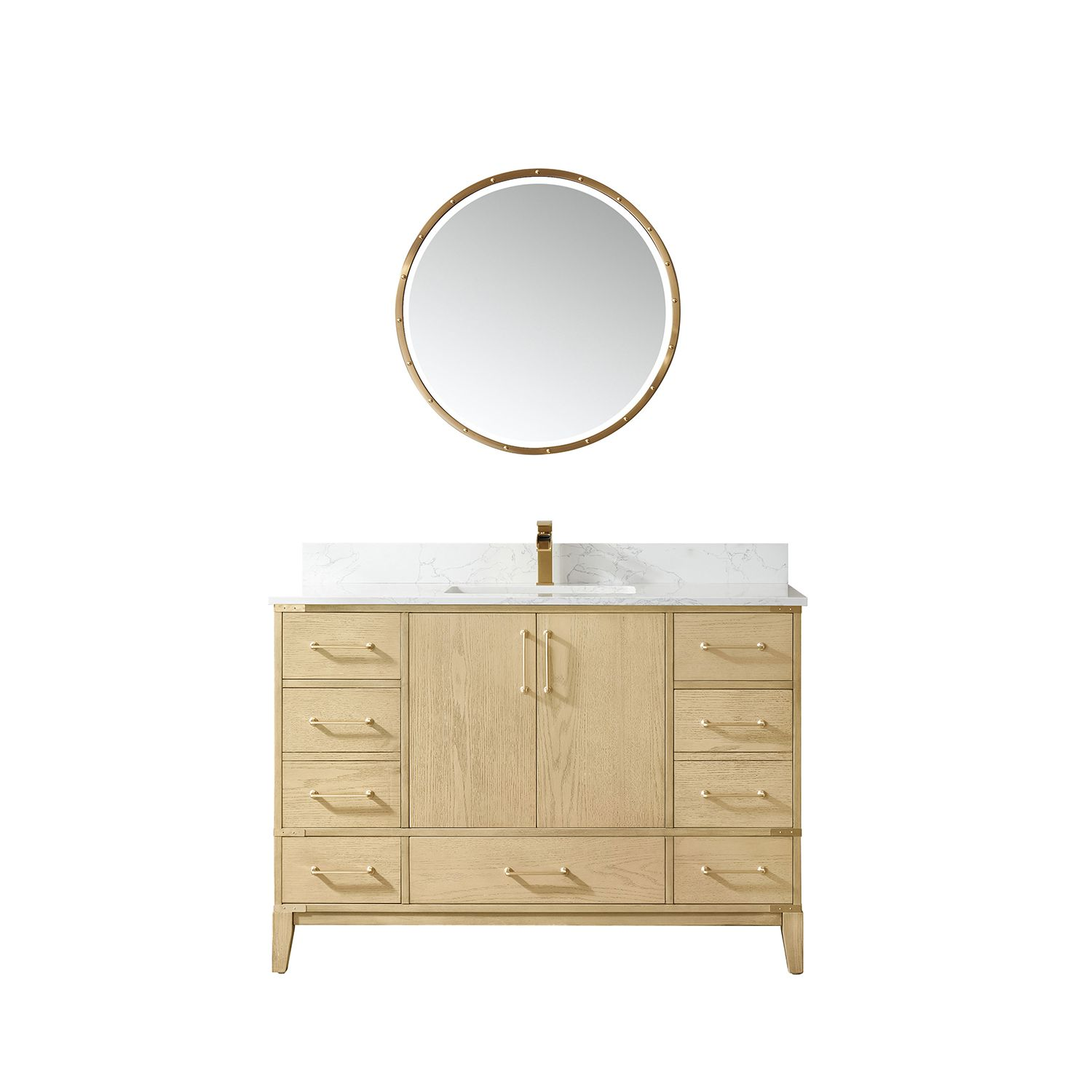 """48"""" Vanity in Washed Ash with White Composite Grain Stone Countertop Without Mirror"""