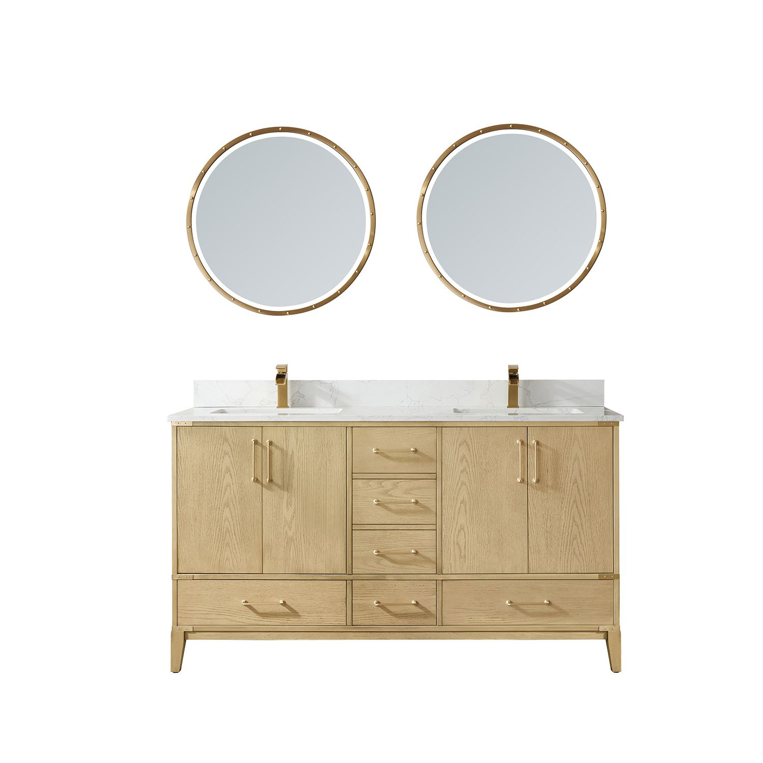 """60"""" Vanity in Washed Ash with White Composite Grain Stone Countertop Without Mirror"""