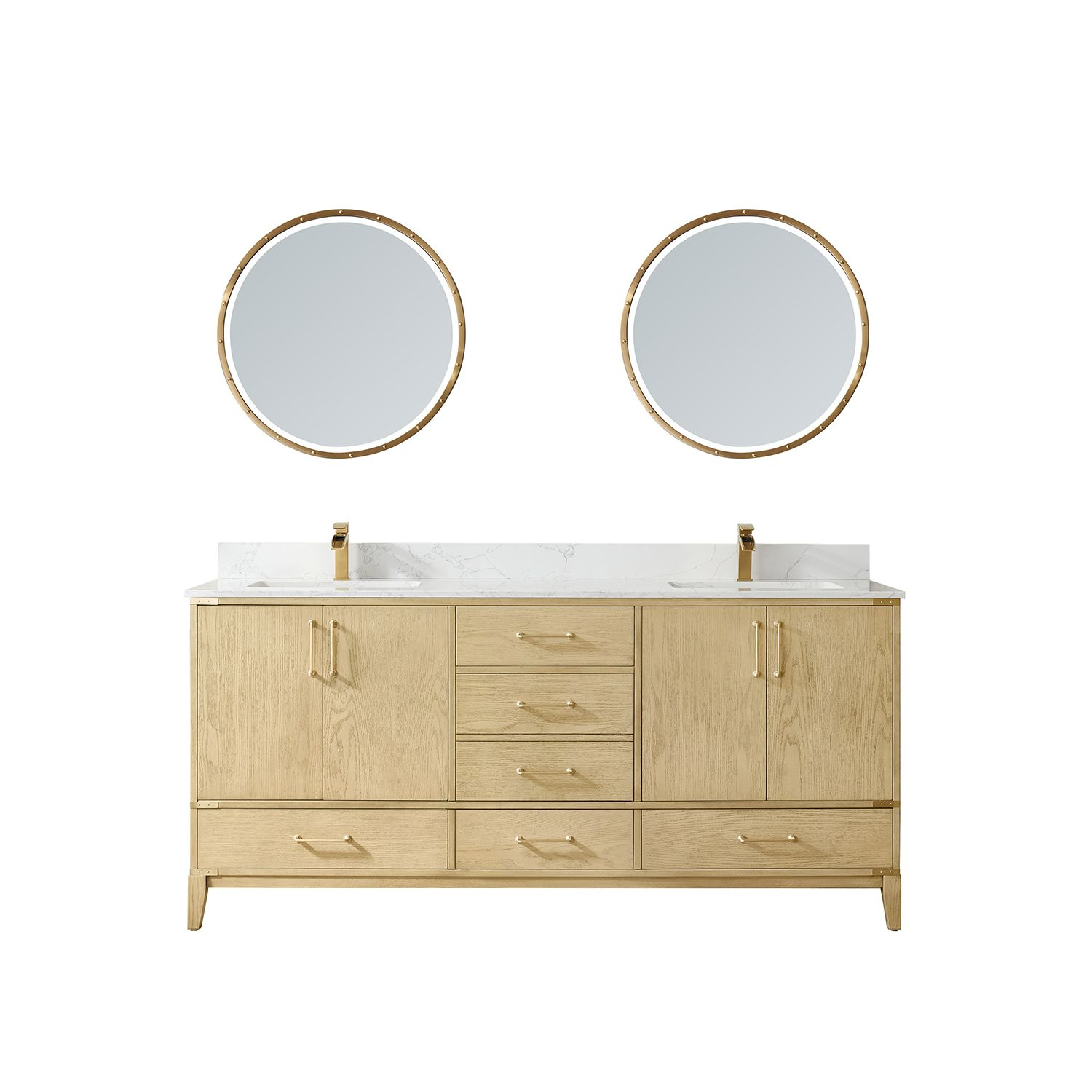 """72"""" Vanity in Washed Ash with White Composite Grain Stone Countertop Without Mirror"""