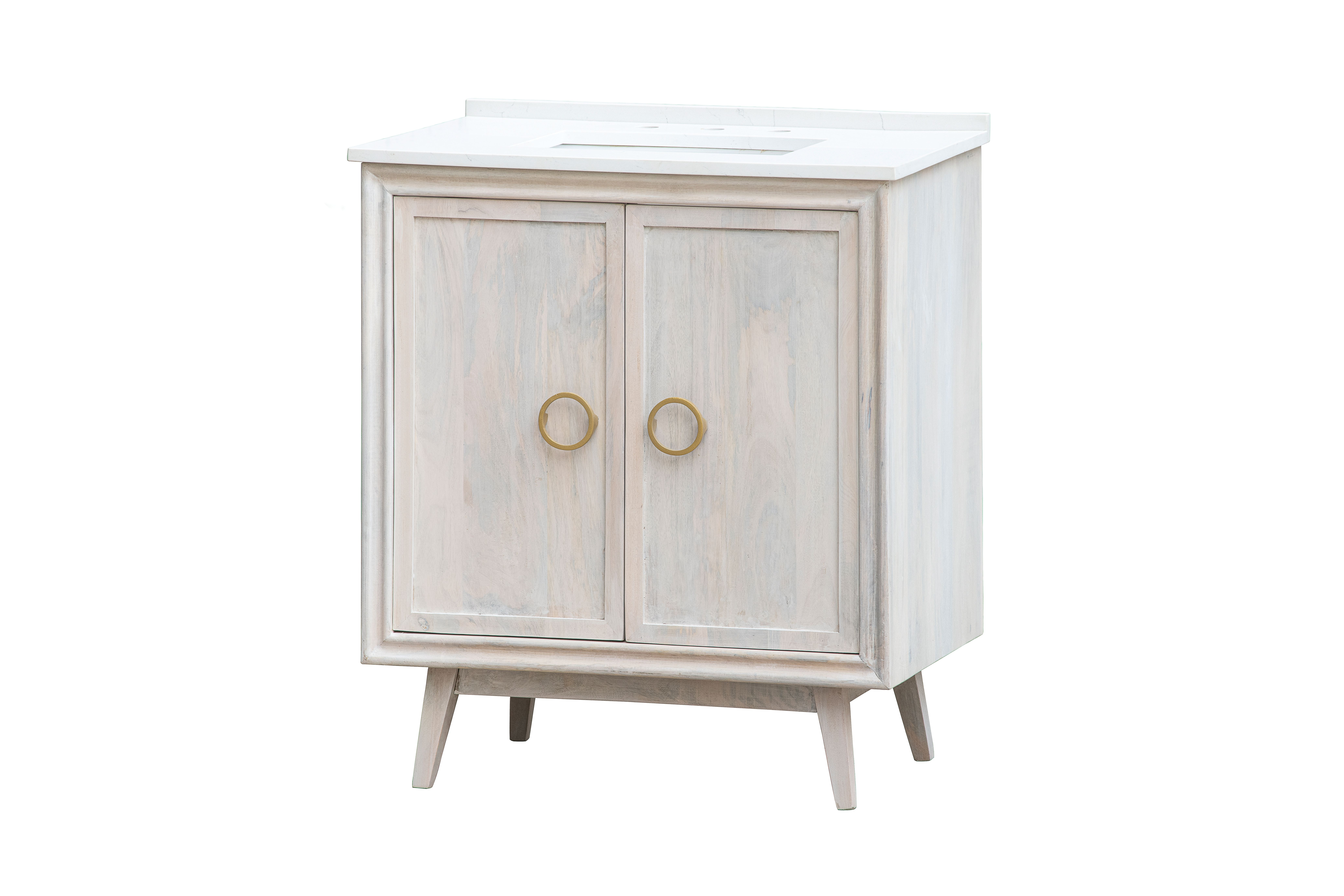 """32"""" All Wood, Distressed White Mid Century Modern vanity with White Quartz Top"""