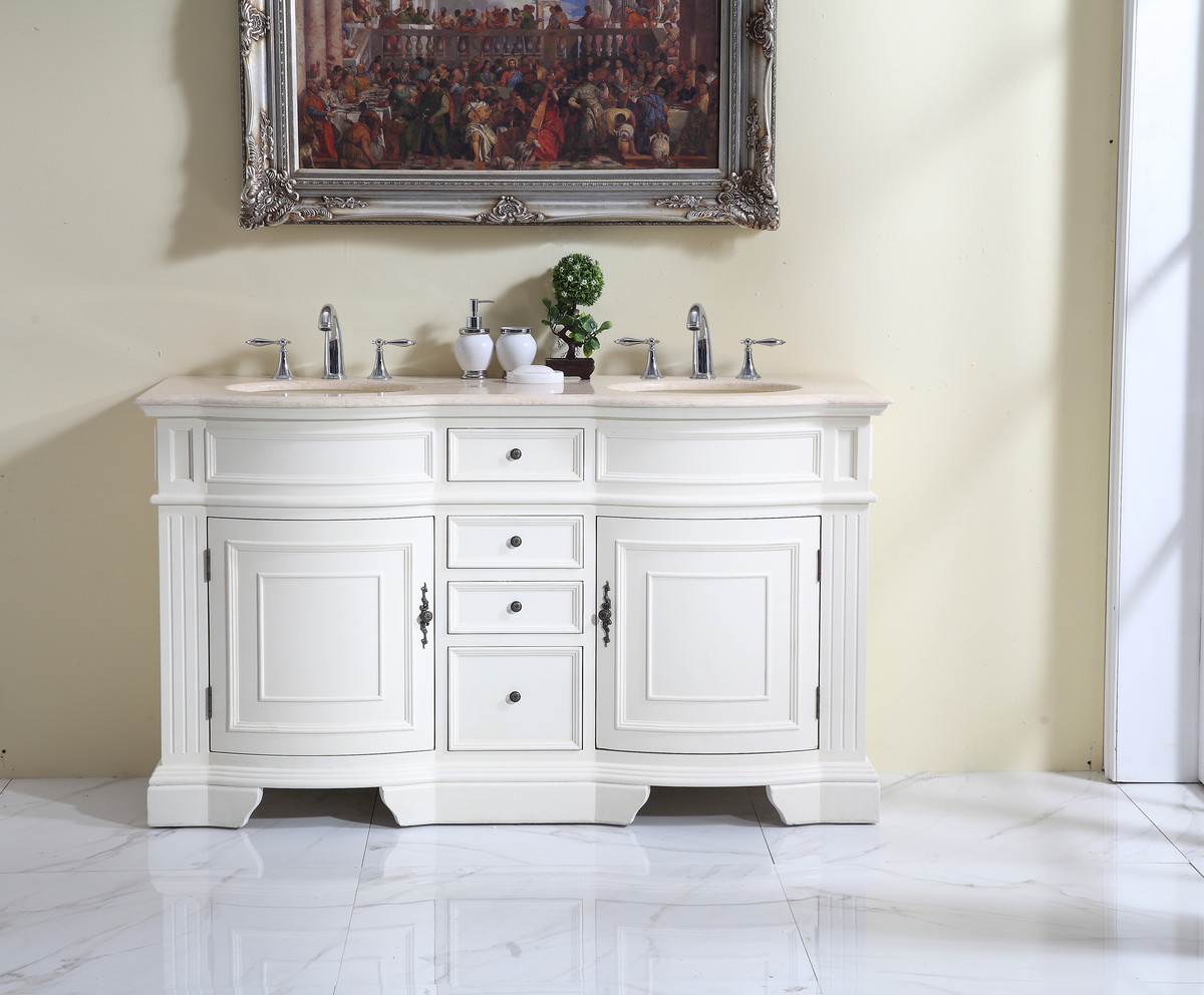 "60"" Adelina Traditional Style Double Sink Bathroom Vanity in White Finish with Beige Stone Countertop and Oval Bone Porcelain Sink"