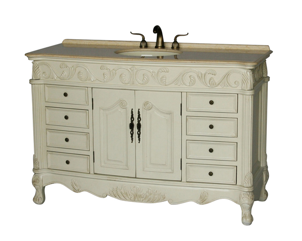 """60"""" Adelina Antique Style Single Sink Bathroom Vanity in Antique White Finish with Beige Stone Countertop and Oval Bone Porcelain Sink"""