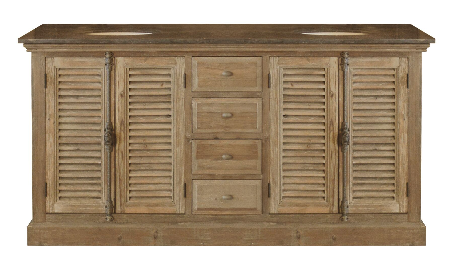 "71"" Handcrafted Reclaimed Pine Solid Wood Double Bath Vanity"