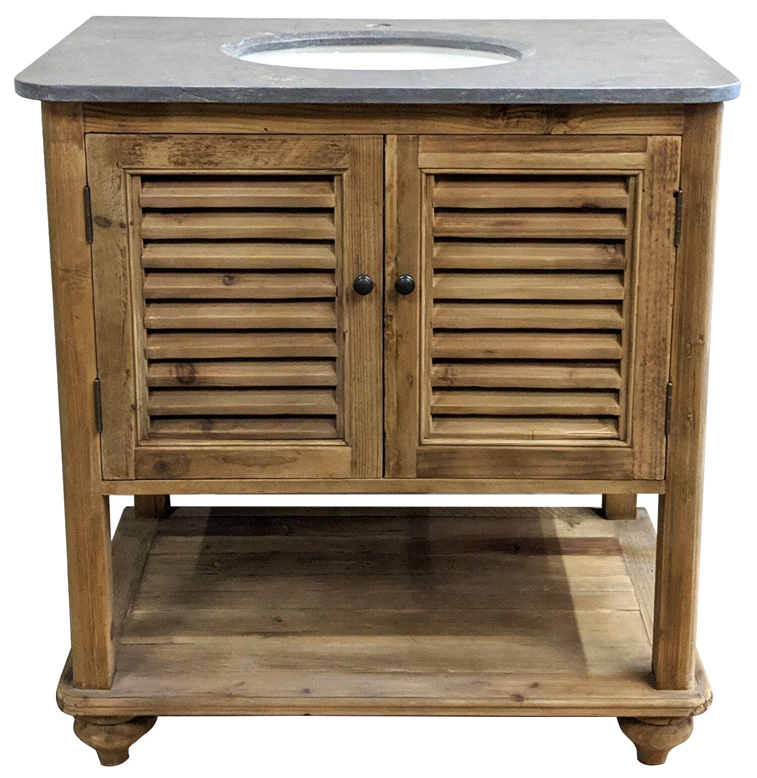 "34"" Handcrafted Reclaimed Pine Solid Wood Single Pothead Vanity Natural Pine Finish"