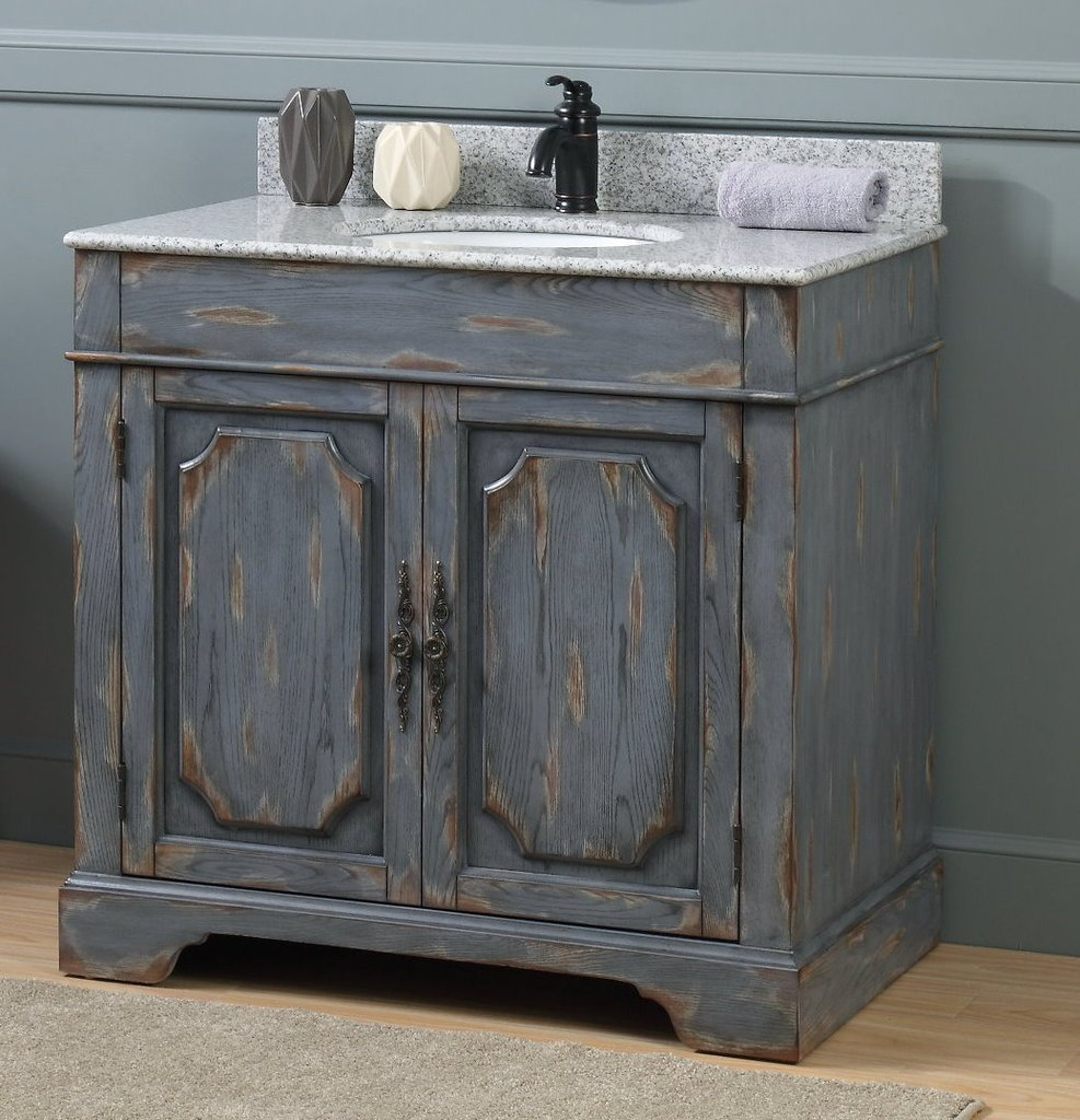 "Adelina 36"" Rustic Gray Distressed Boho Bathroom Vanity"
