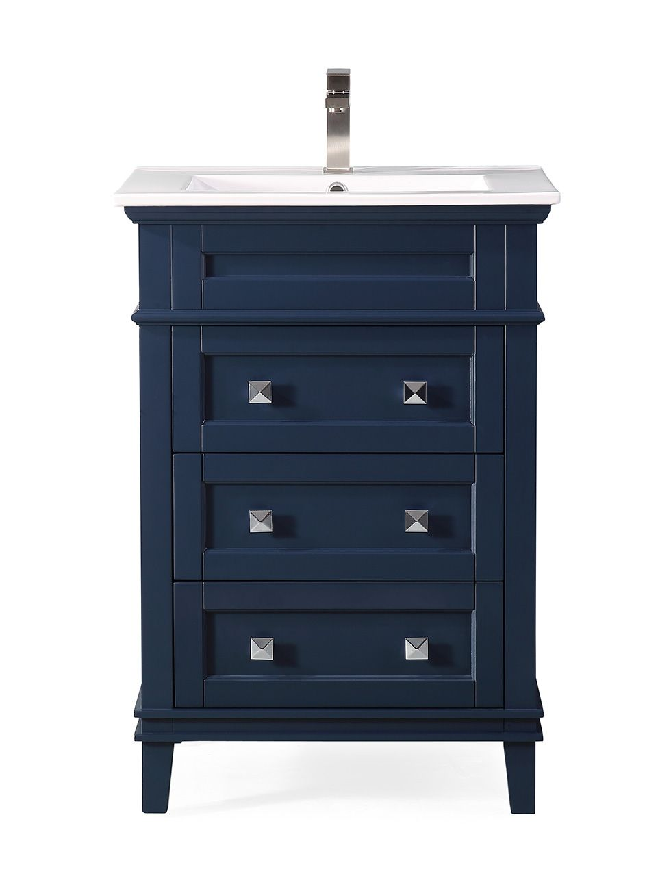 "24"" Contemporary Single Sink Navy Blue Bathroom Vanity with White Ceramic Sink Top, Color Options"