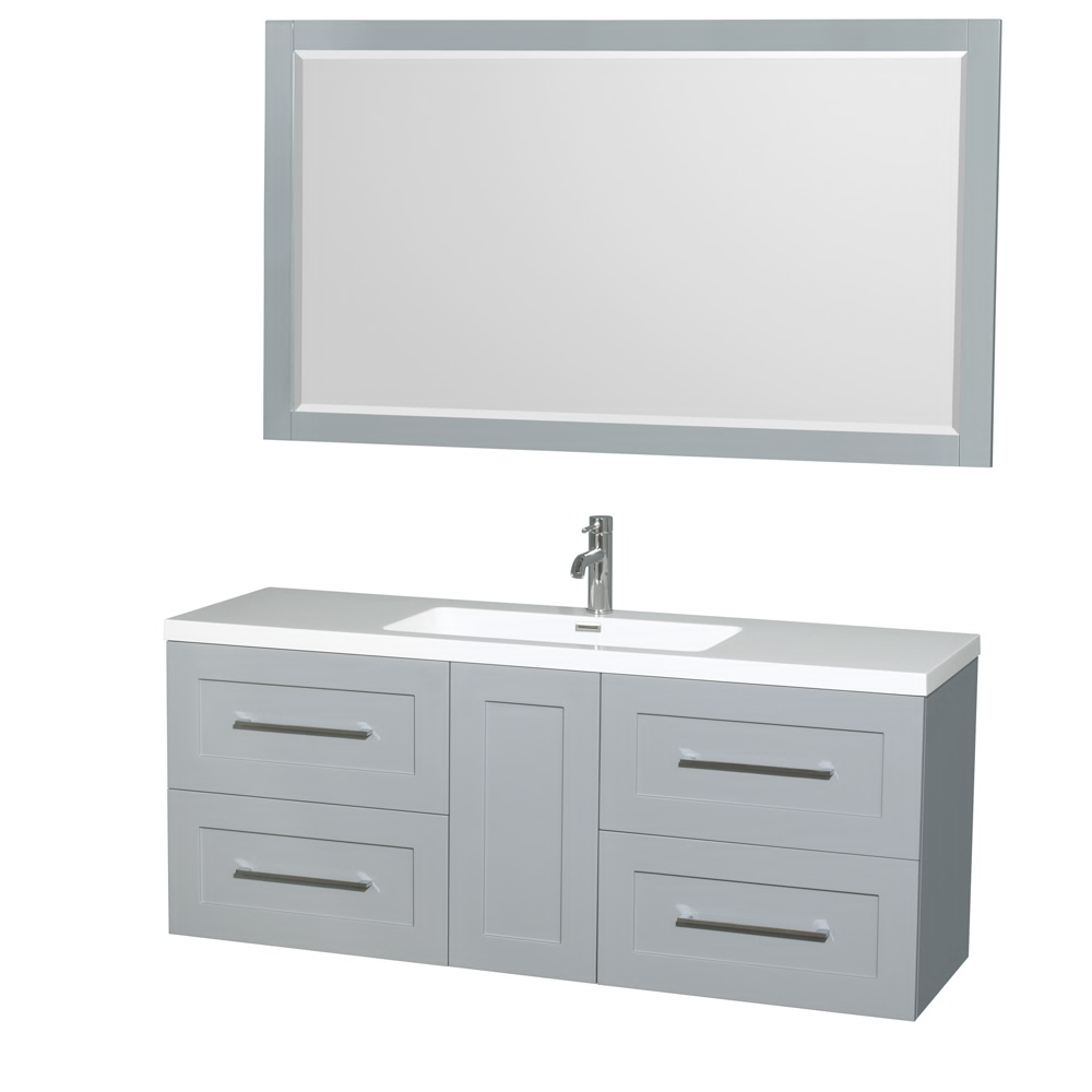 "60"" Wall-Mounted Single Bathroom Vanity in Acrylic Resin Countertop, Integrated Sink, 58"" Mirror and Color Options"