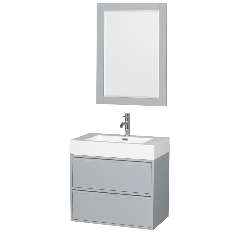 "30"" Single Bathroom Vanity in Acrylic Resin Countertop, Integrated Sink, and 24"" Mirror with Color Options"
