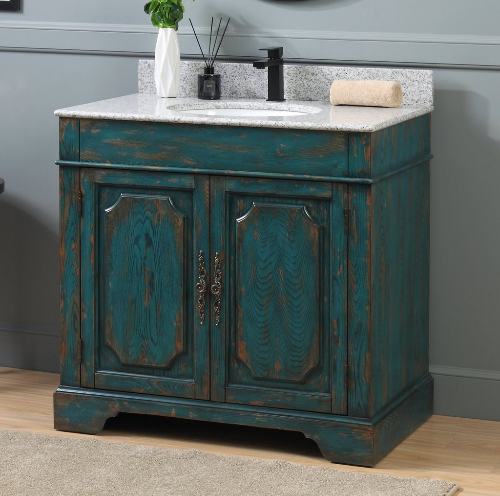 "Adelina 36"" Benton Collection Litchfield Rustic Emerald Blue Distressed Bathroom Vanity"