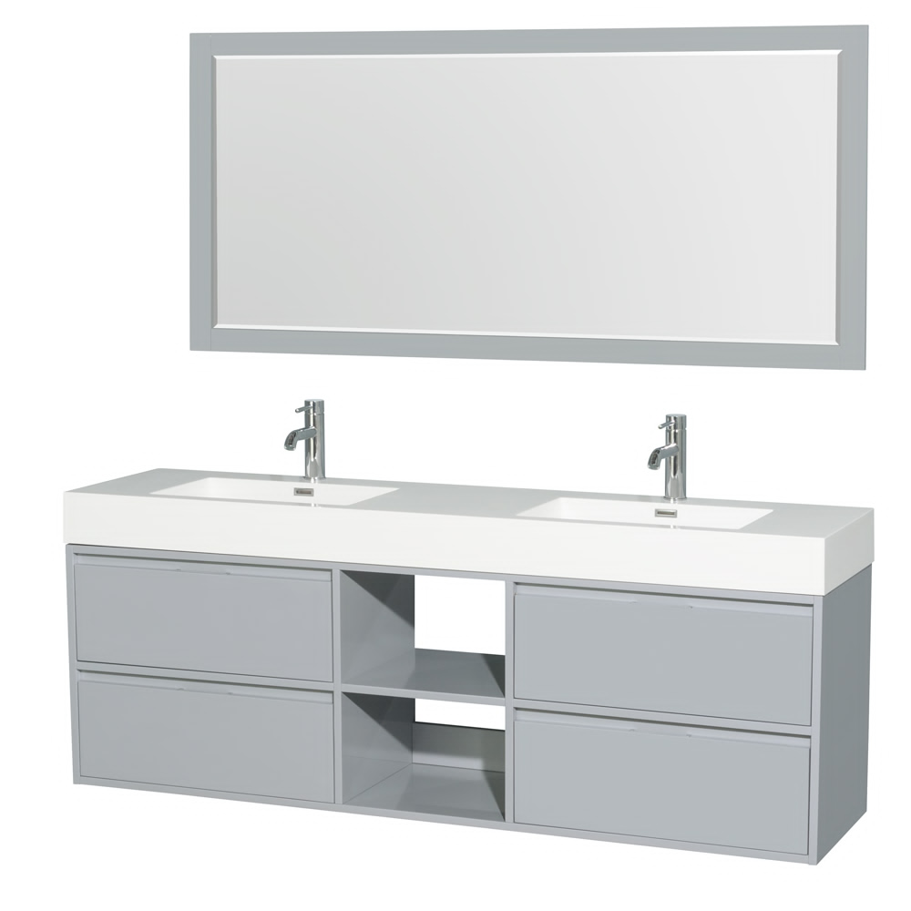 "72"" Double Bathroom Vanity in Acrylic Resin Countertop, Integrated Sink with Mirror and Color Options"