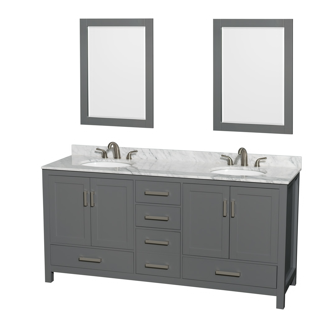 "72"" Double Bathroom Vanity in Dark Gray with Countertop, Sink, and Mirror Options"