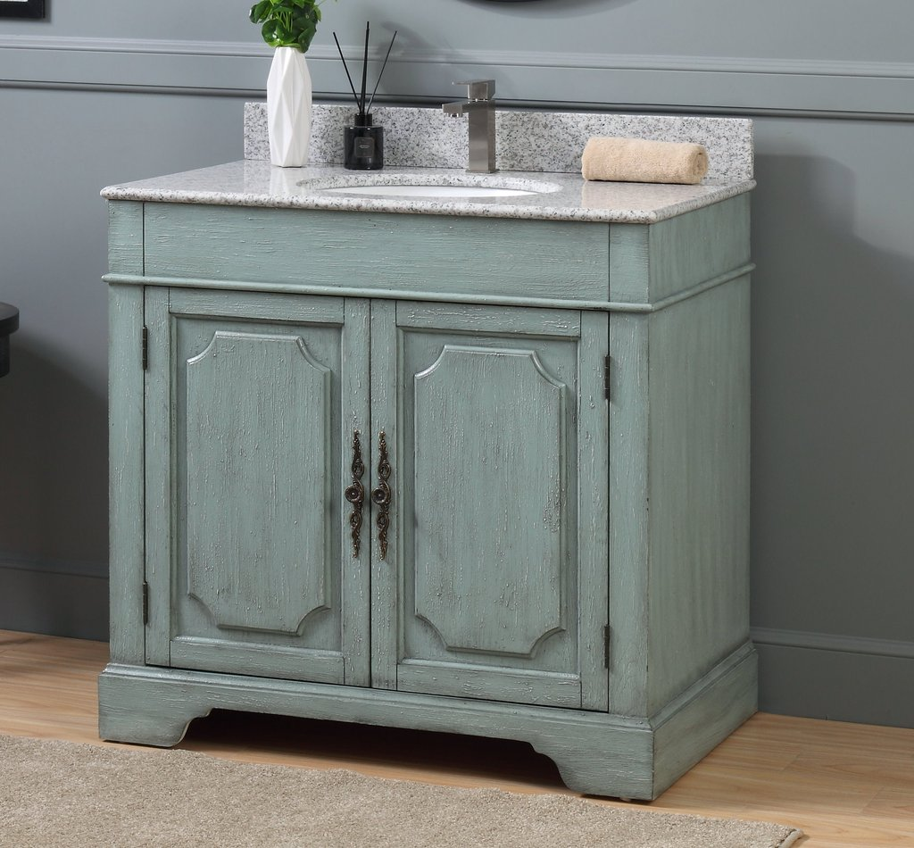 "Adelina 36"" Distressed Silver Blue Beach Style Bathroom Vanity"