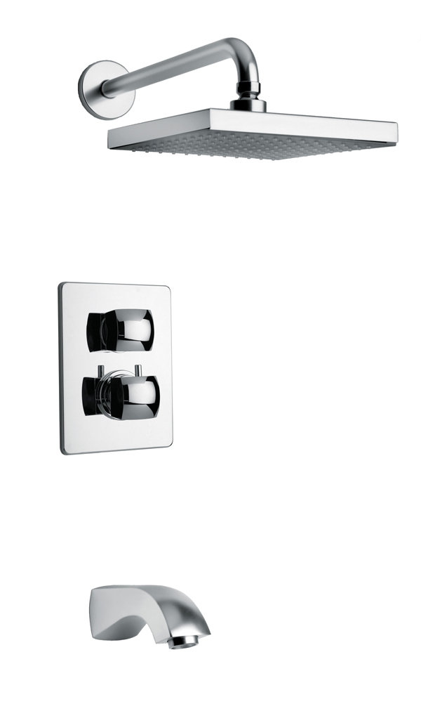 Thermostatic Tub and Shower Set With 2-Way Diverter Volume Control in Chrome