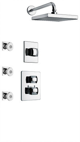 """Thermostatic Shower With 3/4"""" Ceramic Disc Volume Control, 3-Way Diverter and 3 Body Jets in Chrome"""