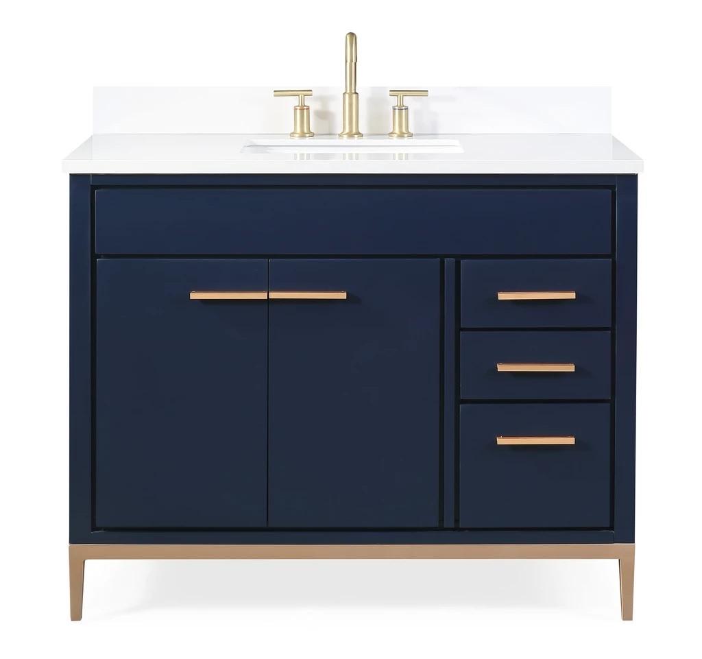 "42"" Navy Blue Modern Bathroom Sink Vanity with Quartz Stone Countertop"