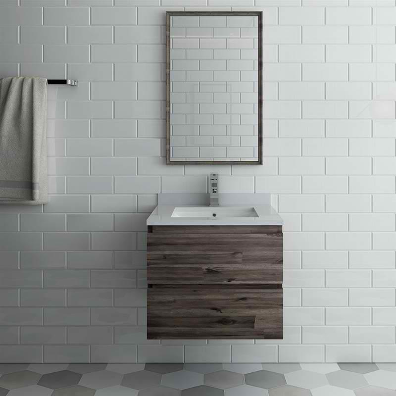 "24"" Wall Hung Modern Bathroom Vanity with Mirror"
