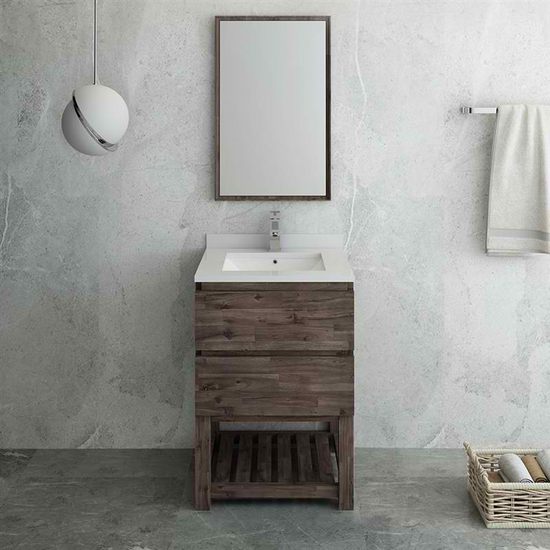 "24"" Floor Standing Modern Bathroom Vanity with Open Bottom & Mirror"