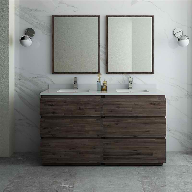 "60"" Floor Standing Double Sink Modern Bathroom Vanity w/ Mirrors"