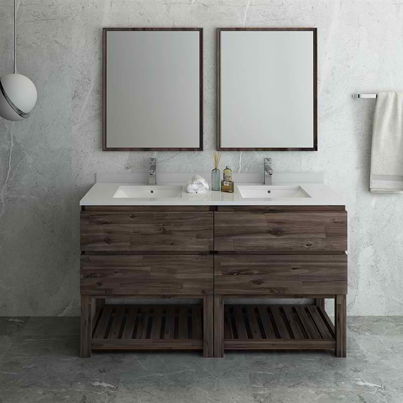 "Fresca Formosa 60"" Floor Standing Double Sink Modern Bathroom Vanity w/ Open Bottom & Mirrors"