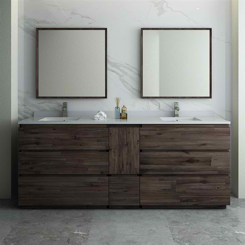 "Fresca Formosa 84"" Floor Standing Double Sink Modern Bathroom Vanity w/ Mirrors"