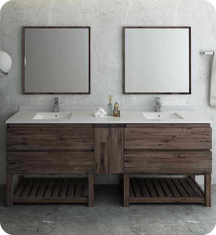 "84"" Floor Standing Double Sink Modern Bathroom Vanity w/ Open Bottom & Mirrors"