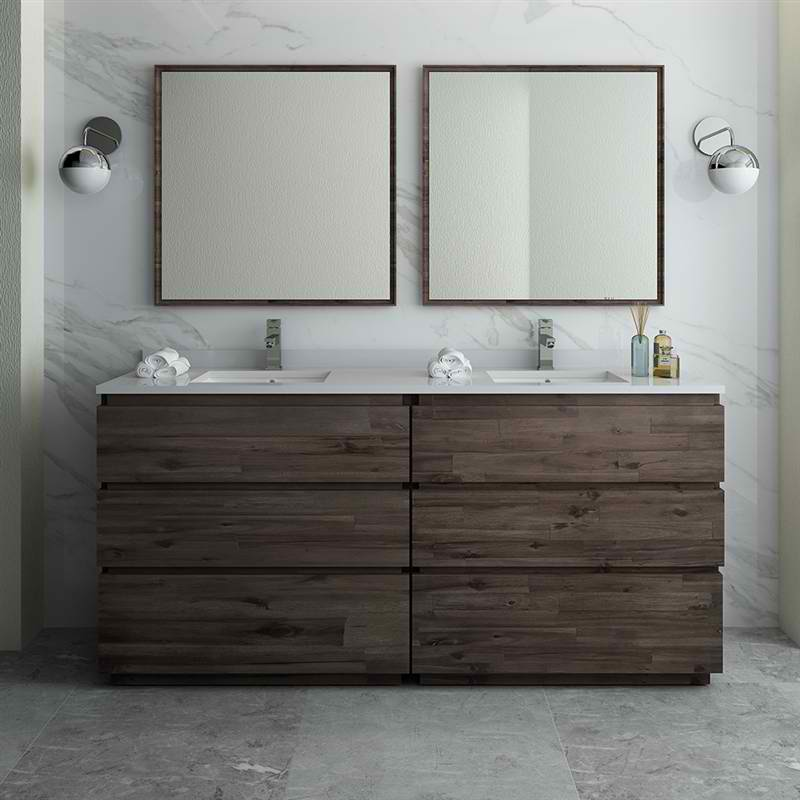 "72"" Floor Standing Double Sink Modern Bathroom Vanity w/ Mirrors"