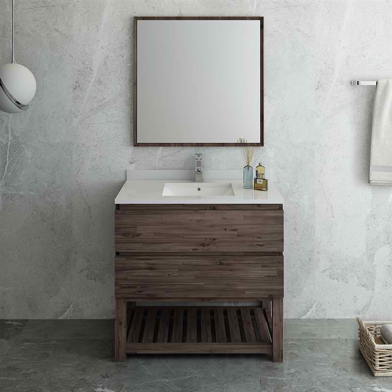 """36"""" Floor Standing Modern Bathroom Vanity w/ Open Bottom & Mirror"""