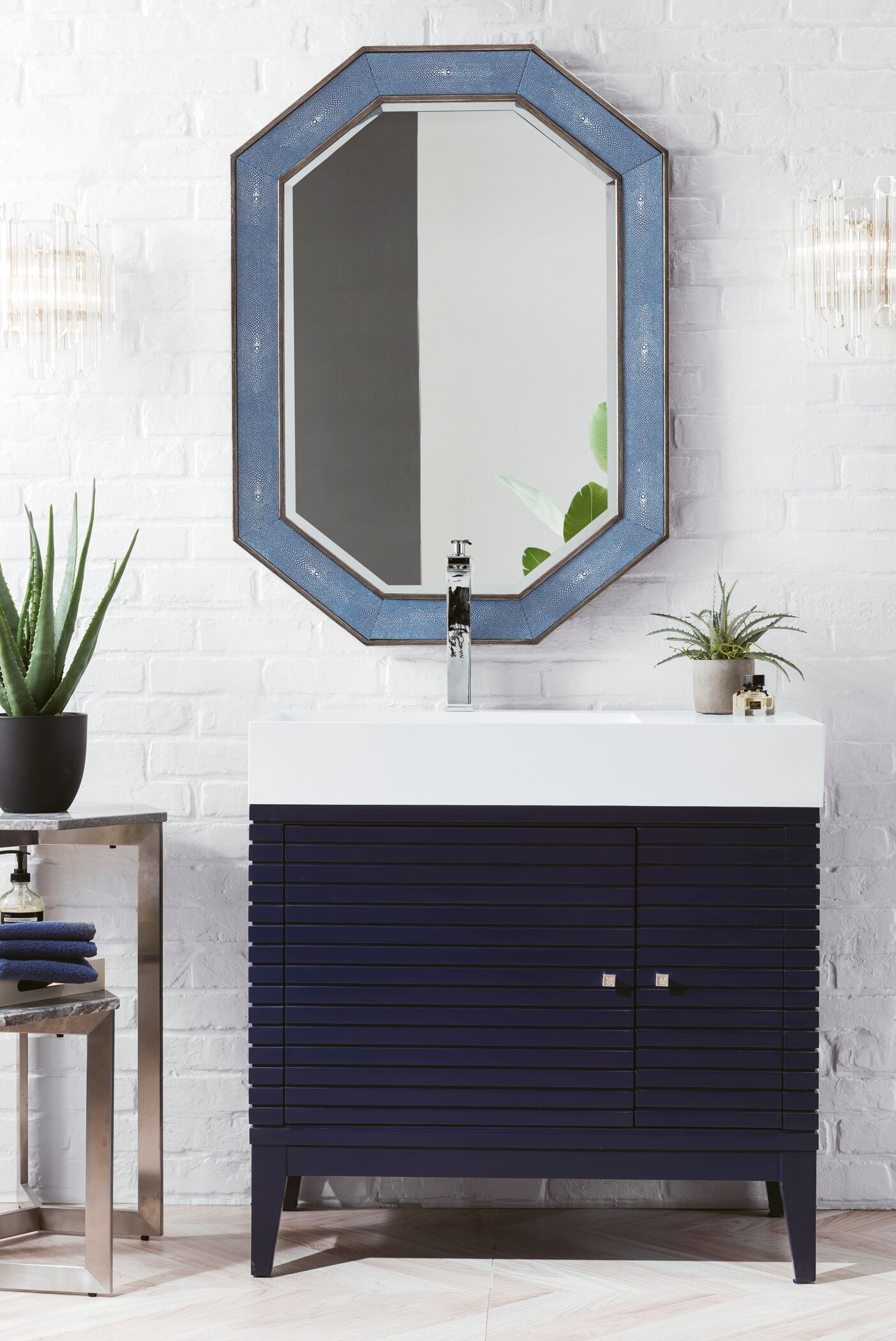 """James Martin Linear Collection 36"""" Single Vanity, Victory Blue Finish"""