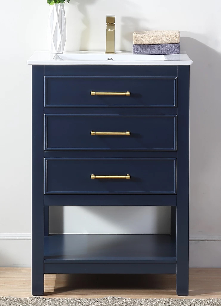 "24"" Adelina Contemporary Small Slim Narrow Navy Blue Bathroom Vanity"