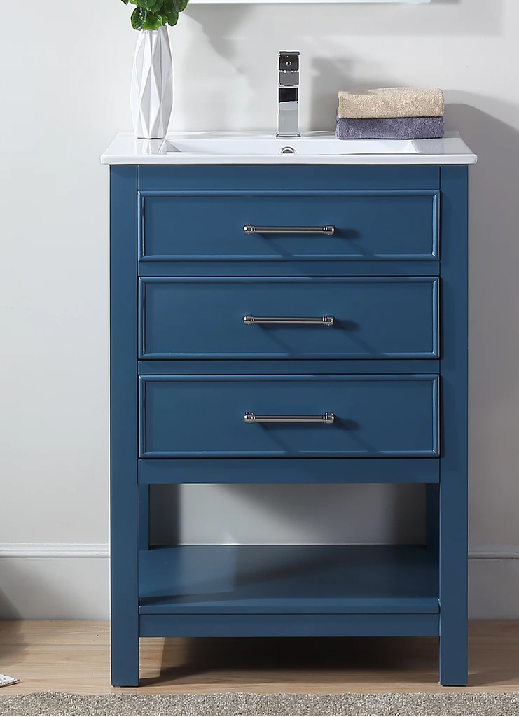 "24"" Adelina Contemporary Small Slim Narrow Teal Blue Bathroom Vanity"