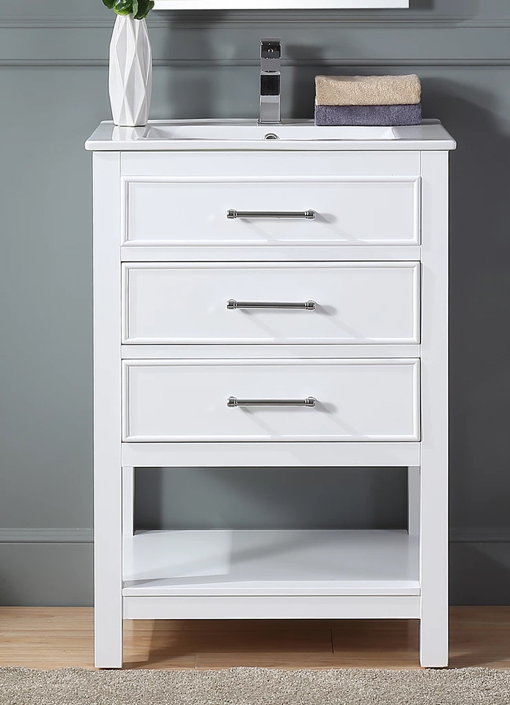 "24"" Contemporary Small Slim Narrow White Bathroom Vanity"
