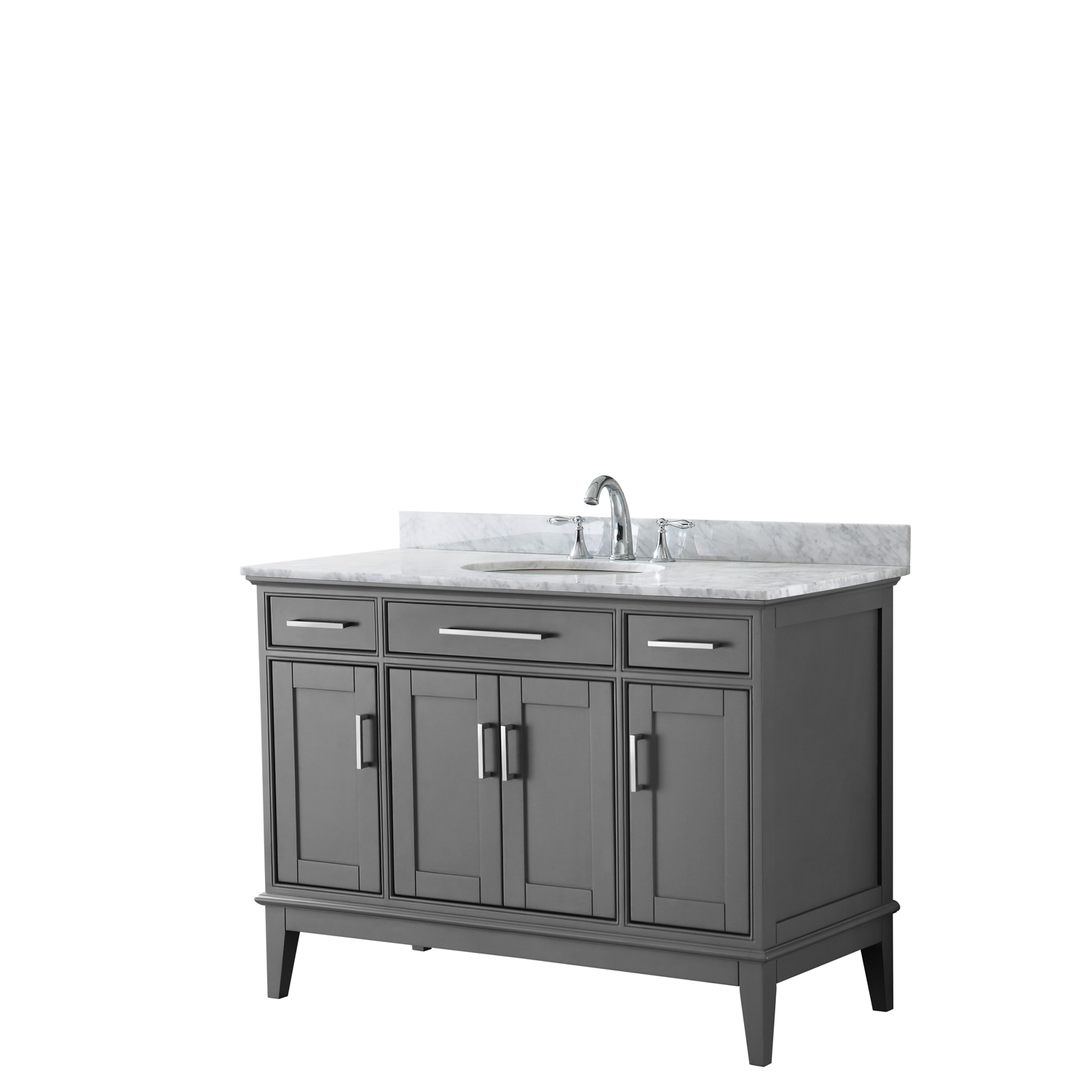 "Contemporary 48"" Single Bathroom Vanity in Dark Gray, White Carrara Marble Countertop with Undermount Sink, and Mirror Options"