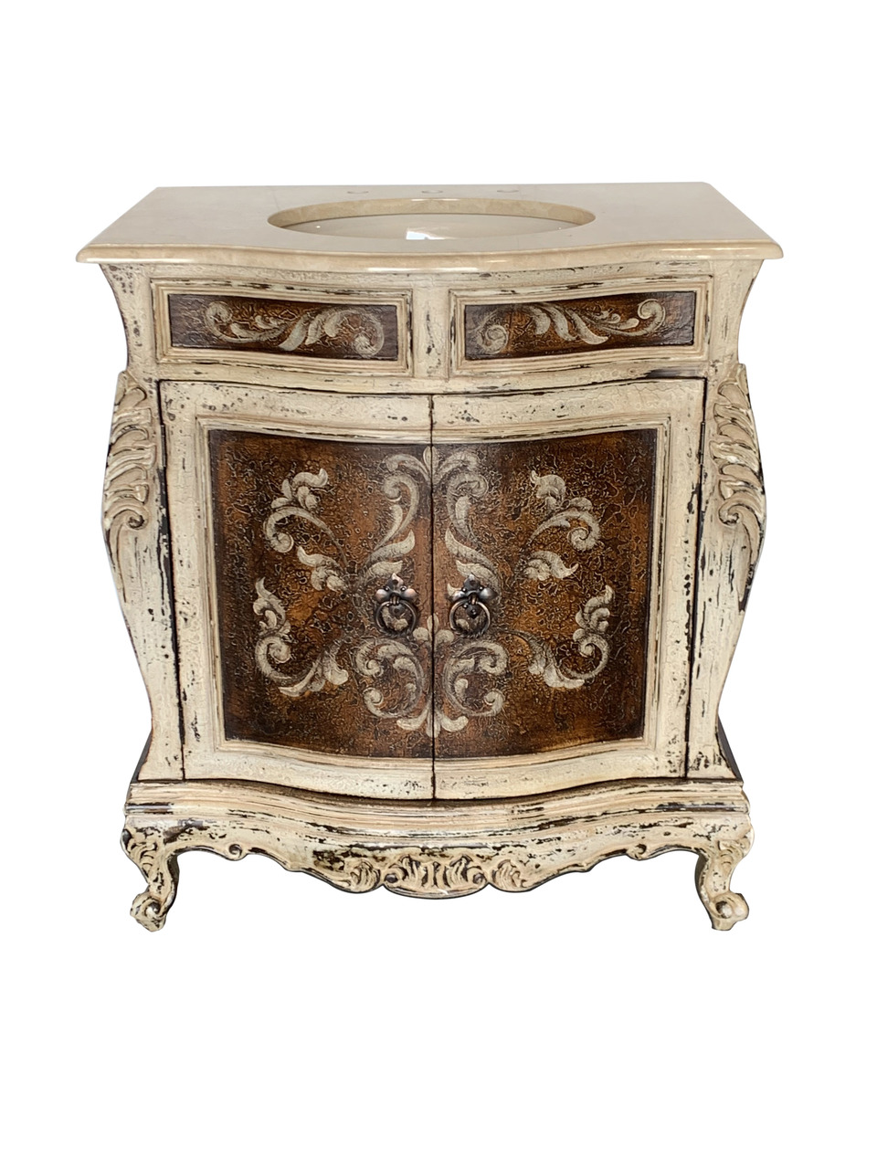 "Adelina Antique Hand Painted 33"" Wide Single Bowl Bathroom Vanity"
