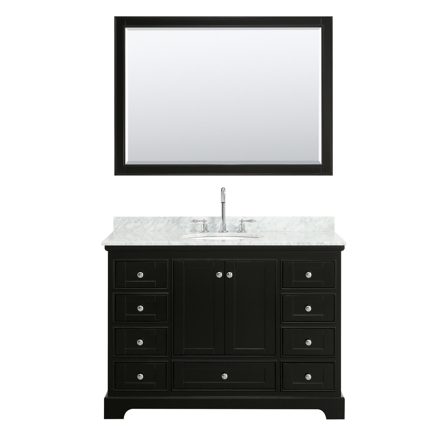 "48"" Single Bathroom Vanity in White Carrara Marble Countertop with Undermount Porcelain Sink, Medicine Cabinet, Mirror and Color Options"