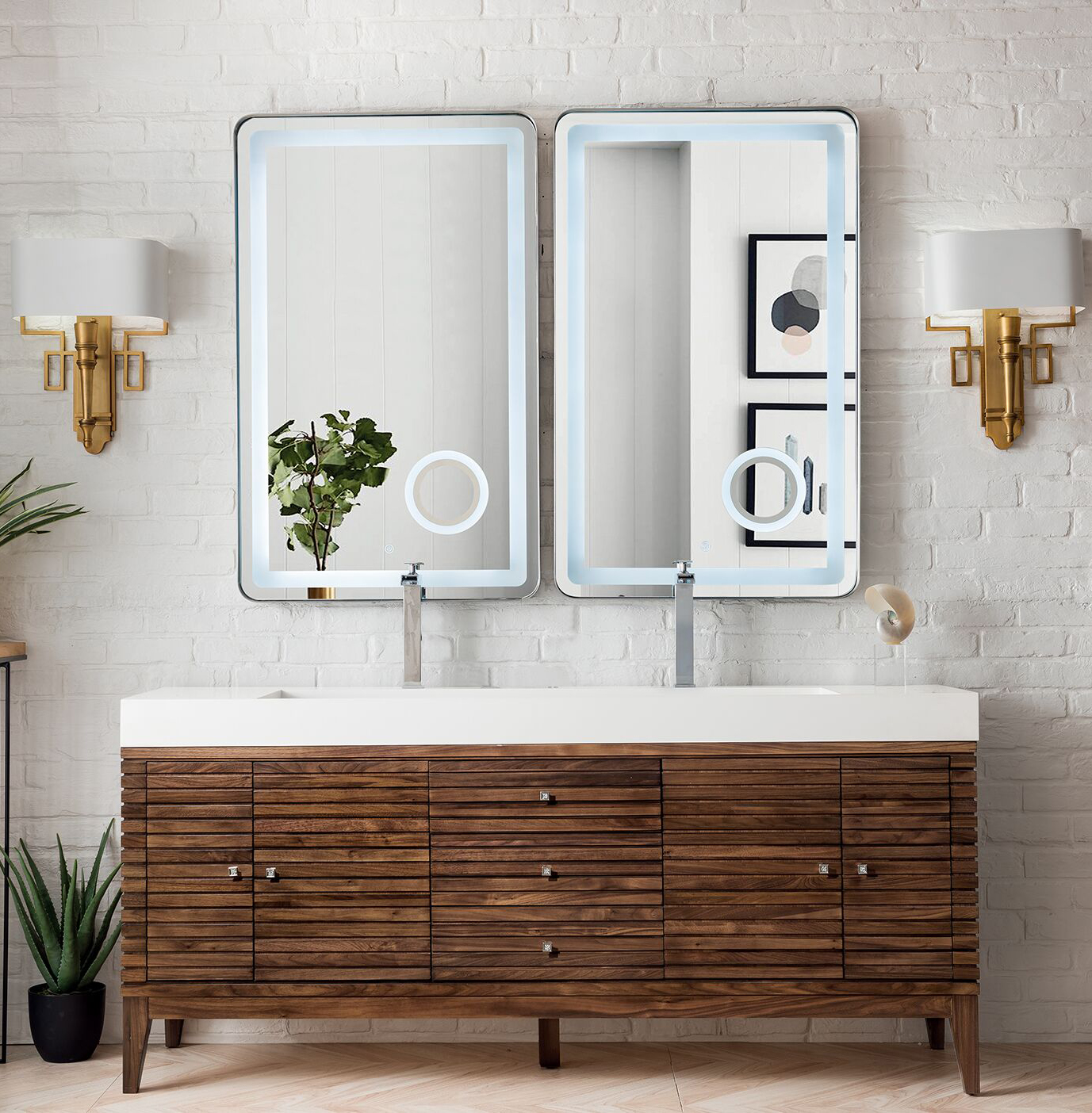 "James Martin Linear Collection 72"" Double Vanity, Mid Century Walnut Finish"