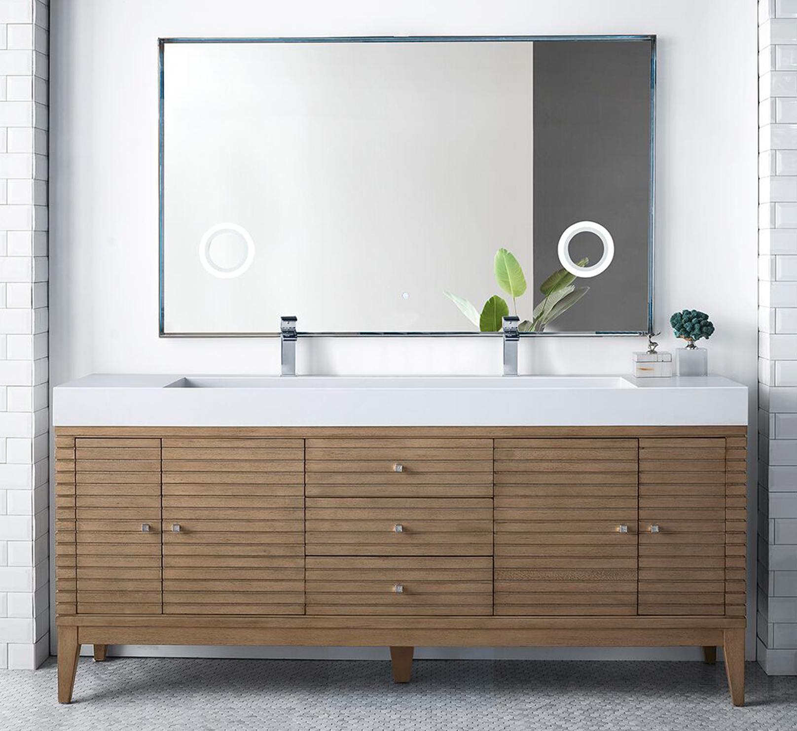 """James Martin Linear Collection 72"""" Double Vanity, White Washed Walnut Finish"""