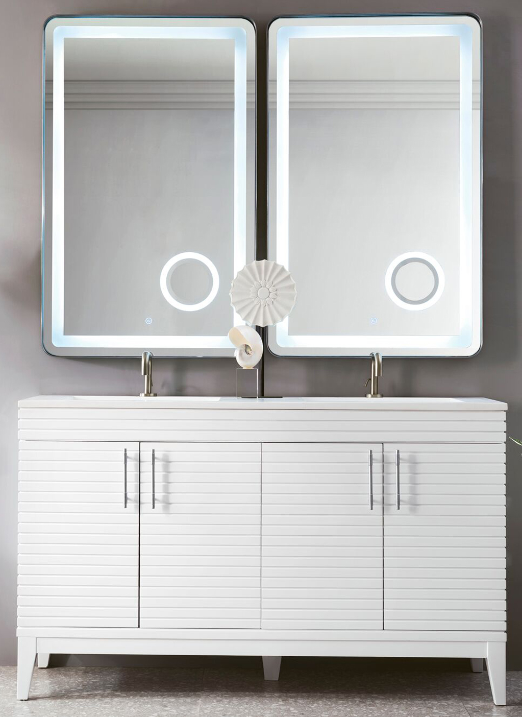 """James Martin Lineage Collection 59"""" Double Vanity, Glossy White Finish"""