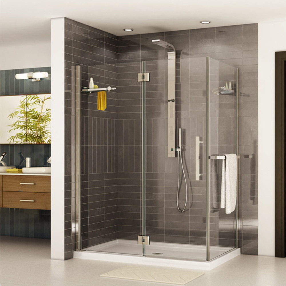 Fleurco Platinum In-Line Door and Fixed Panel with Return Panel and Glass to Glass Hinges