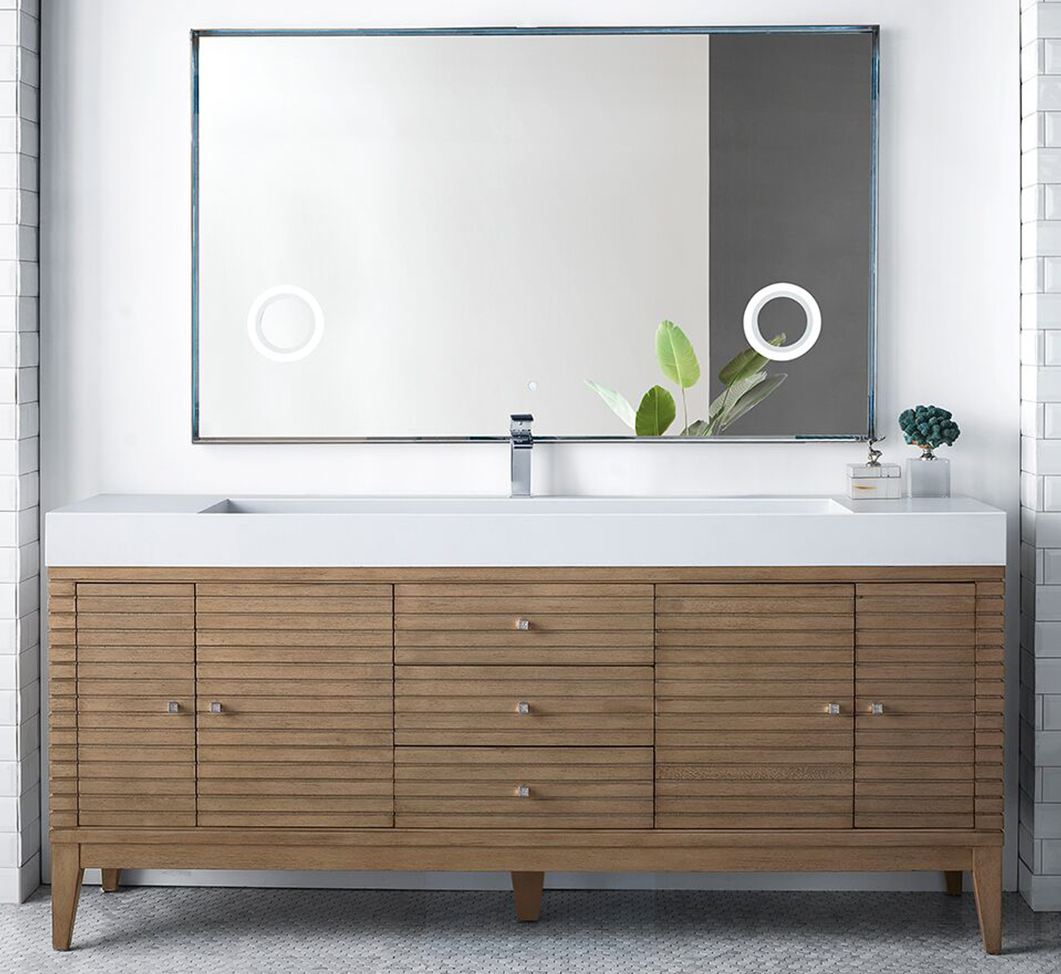 """James Martin Linear Collection 72"""" Single Vanity, White Washed Walnut Finish"""
