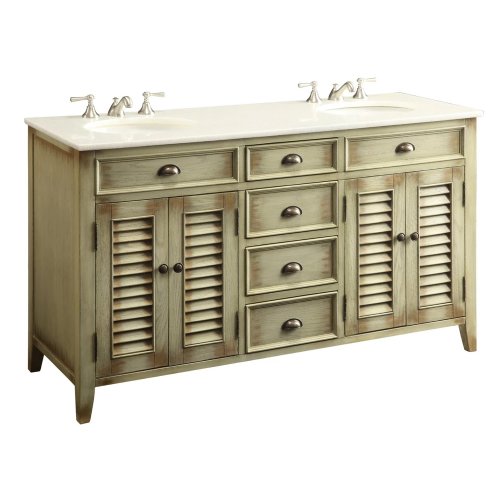 "60"" Distress Beige Double Sink Bathroom Sink Vanity with Crystal White Marble Countertop"