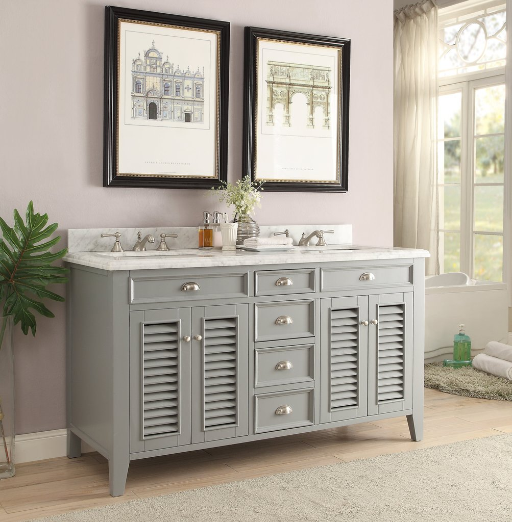 "60"" Premium Gray Double Sink Bathroom Sink Vanity with Italian Carrara Marble Top"