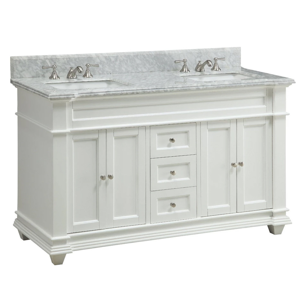 "60"" Italian Carrara Marble Double Sink Bathroom Sink Vanity"
