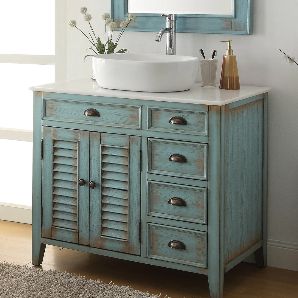 "36"" Distress Blue Vessel Sink Bathroom Vanity with White Over Mounted Porcelain Sink"
