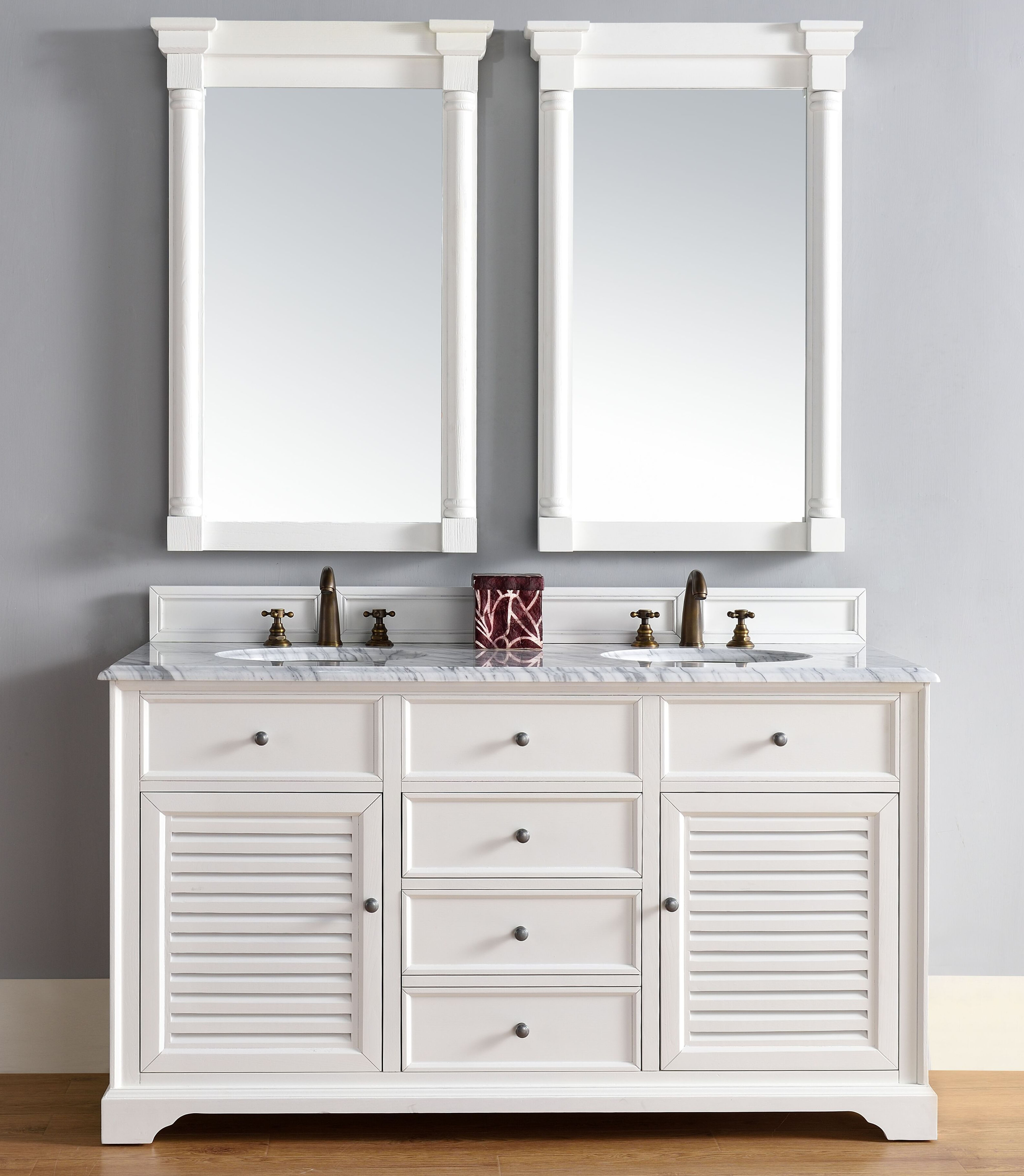 "James Martin Savannah Collection 60"" Double Vanity Cabinet, Cottage White Finish"