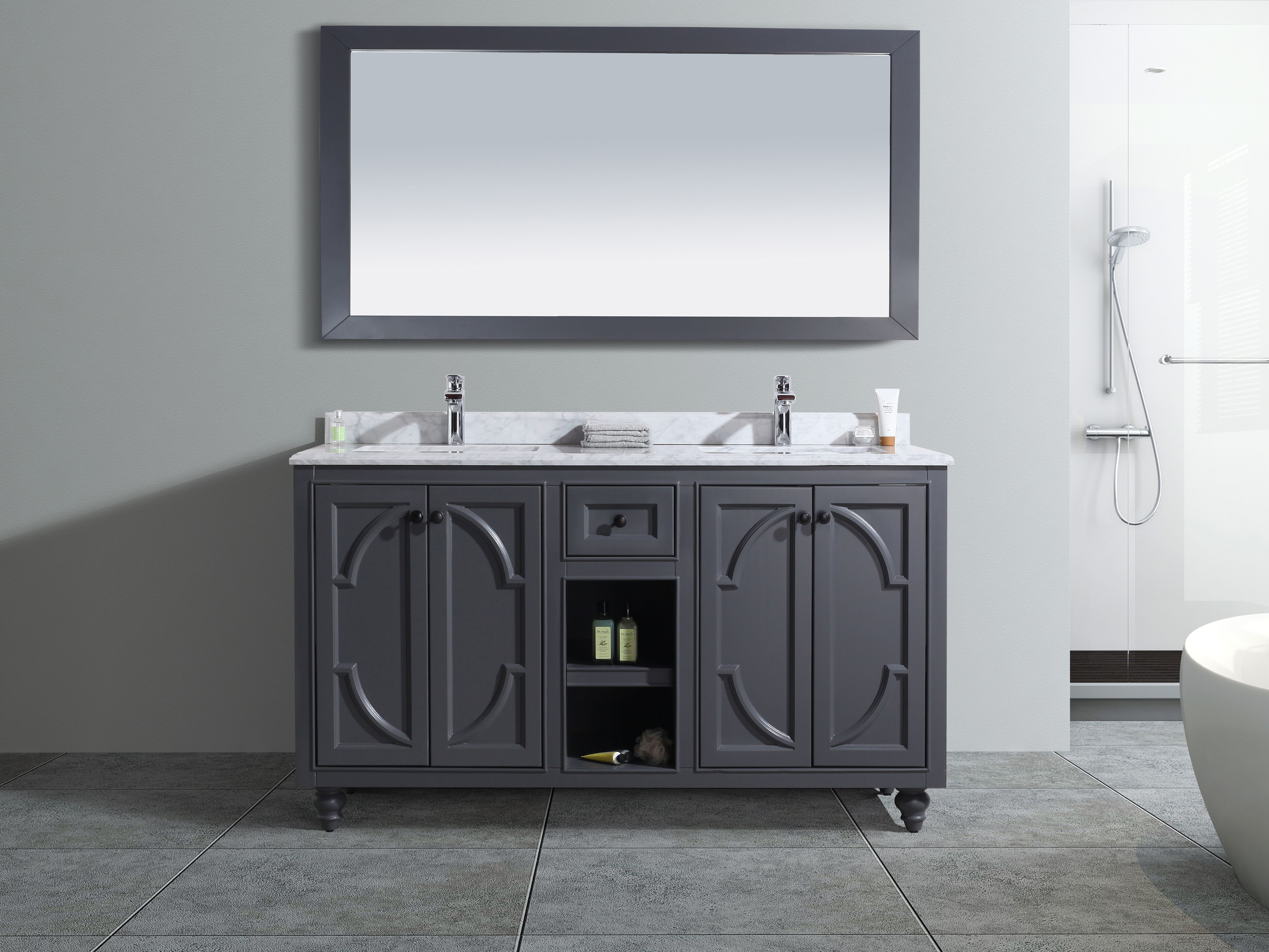 "60"" Double Bathroom Vanity Cabinet + Top and Color Options"