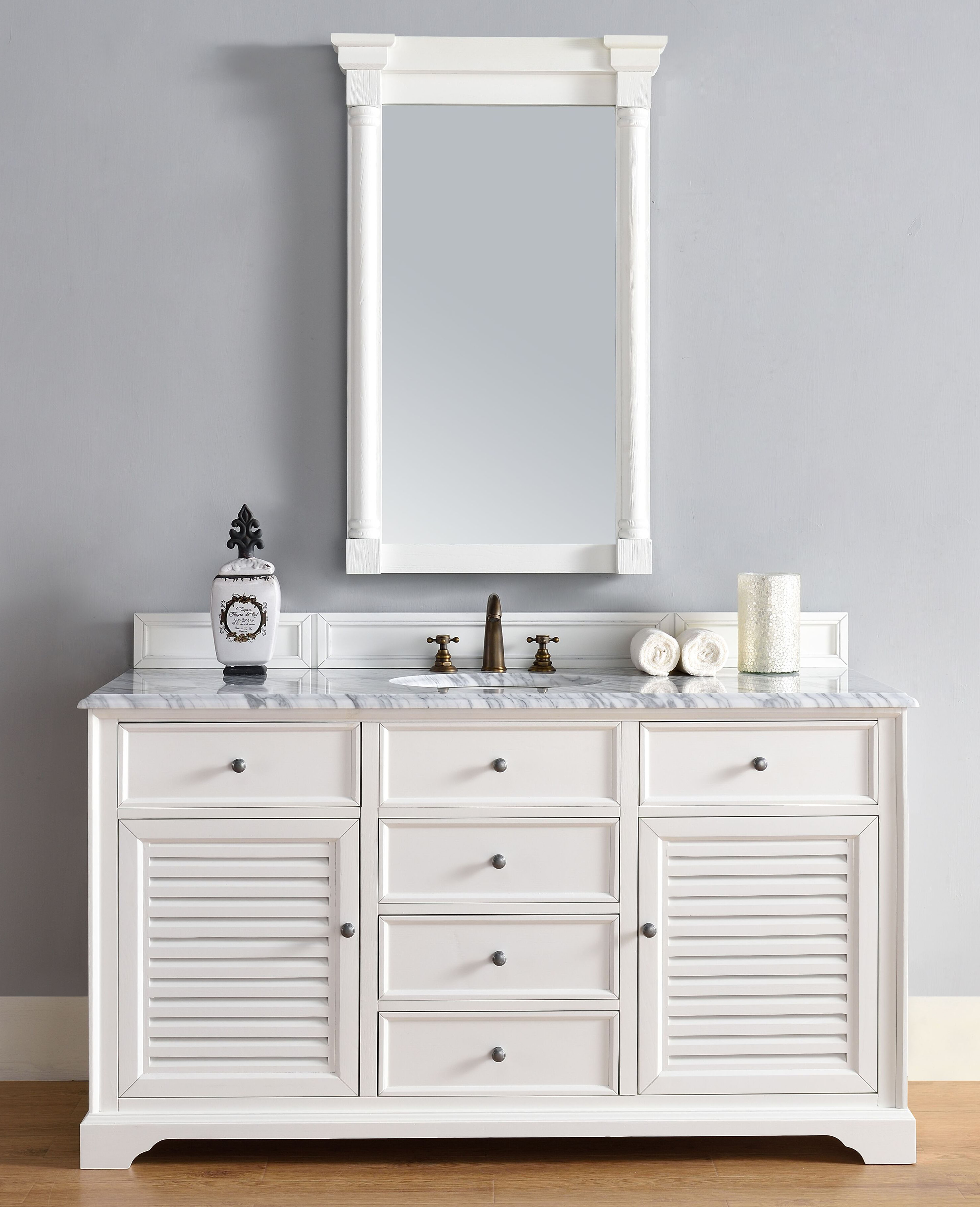 "James Martin Savannah Collection 60"" Single Vanity Cabinet, Cottage White Finish"