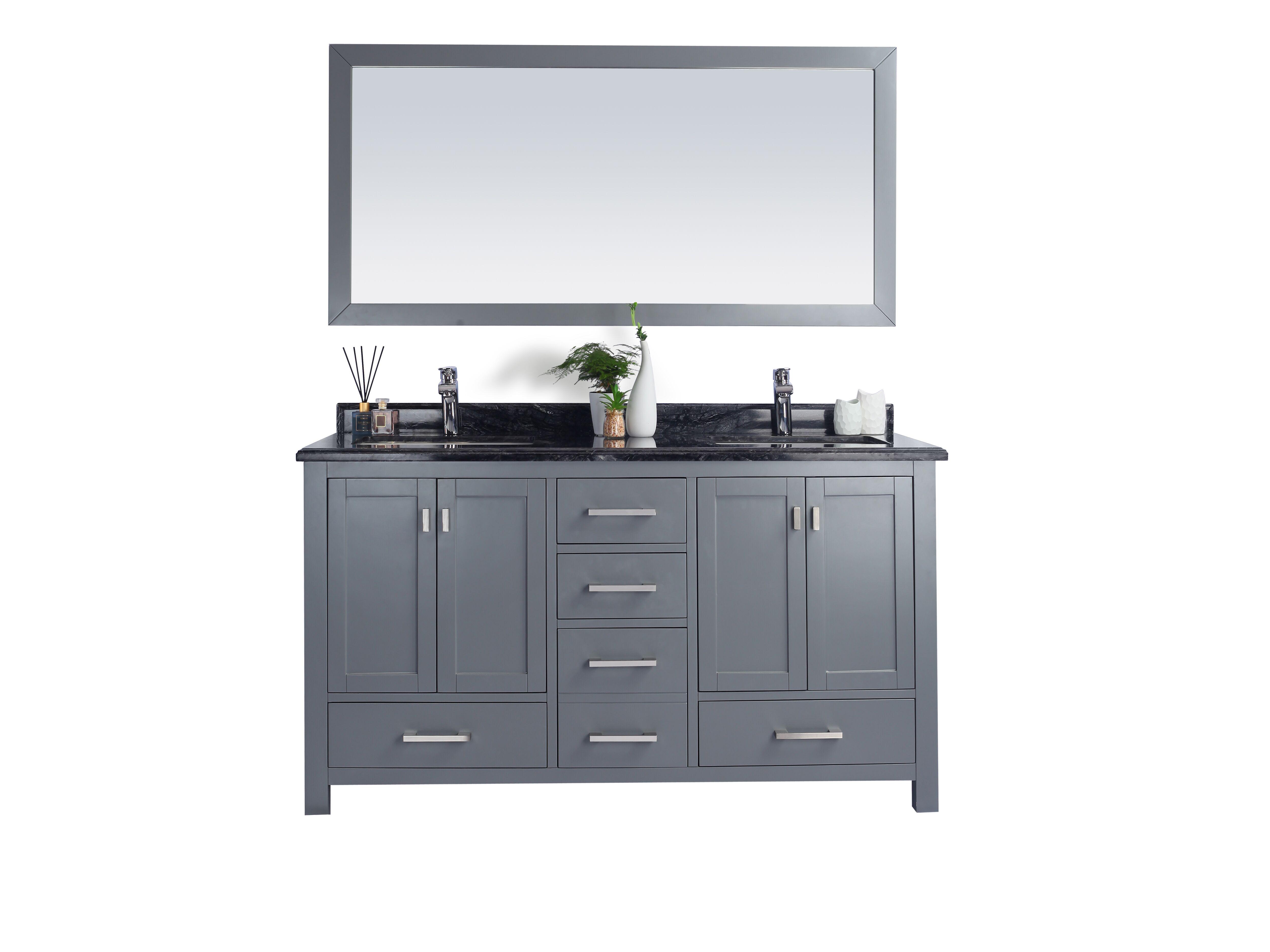 "60"" Double Sink Bathroom Vanity Cabinet + Countertop and Mirror Options"