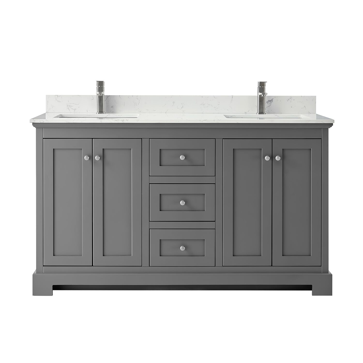 "60"" Double Bathroom Vanity in Dark Gray, Carrara Cultured Marble Countertop, Undermount Square Sinks, No Mirror"